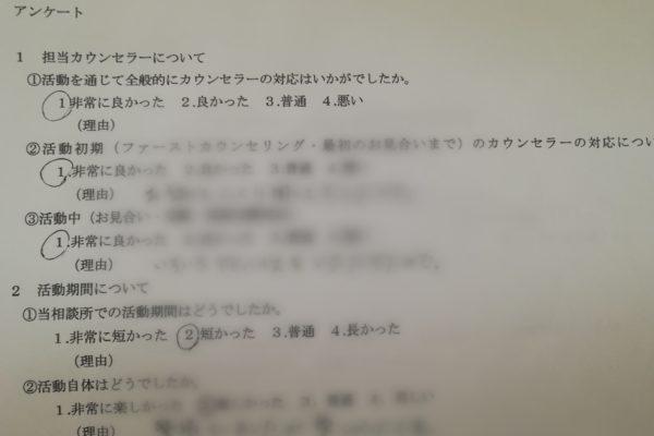 成婚された女性会員様にアンケートを書いていただきました。